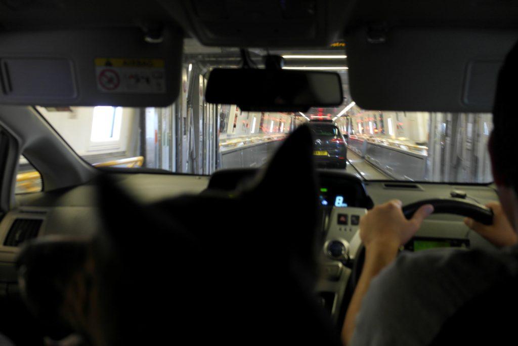 12.20am: Driving on Le Shuttle - Eurotunnel