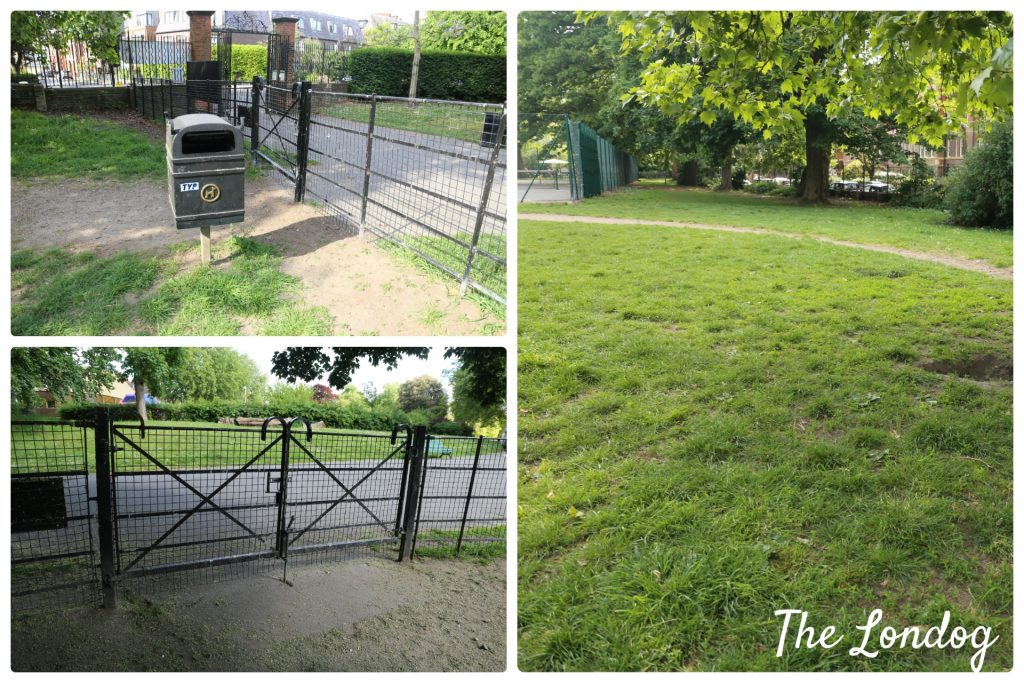 Details of gates and area of Myatt's Fields Park dog park