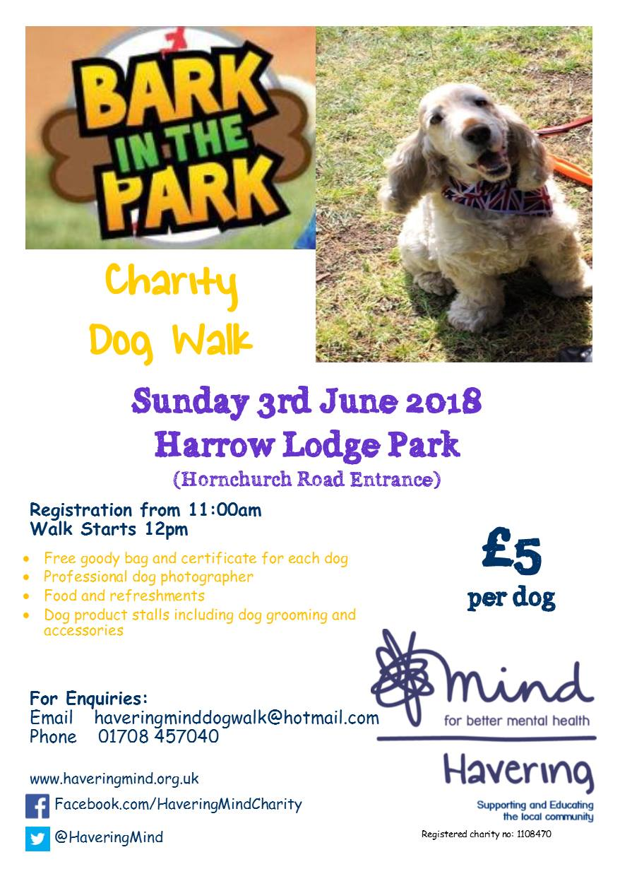 Bark in the park dog walk 2018 flyer