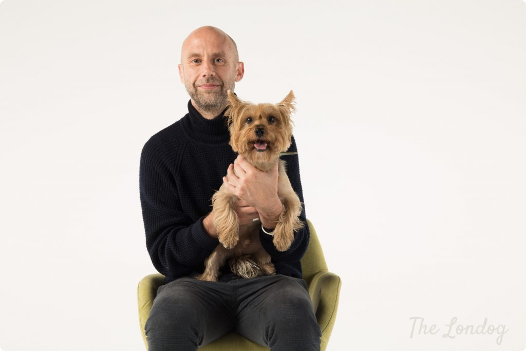 Dog model Albie with man on a chair, looking at the camera