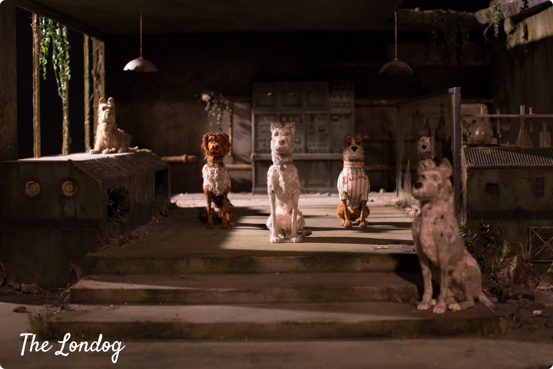 Scene with the dogs' puppets in a dark room from Isle of Dogs exhibition