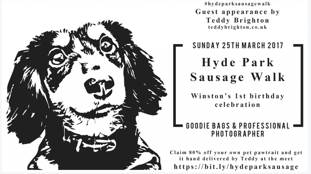 Dachshund presenting the Hyde Park Sausage Walk
