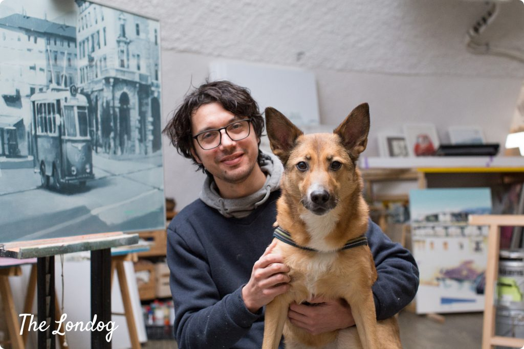 Davide Comelli designer and his studio rescue dog Lea