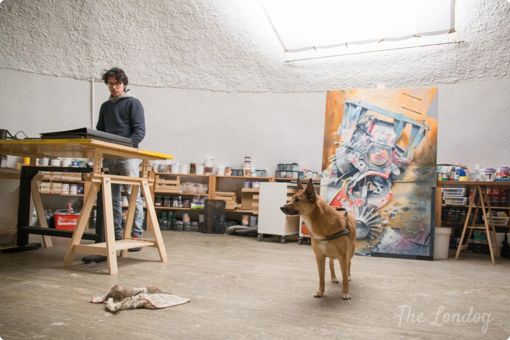 Davide Comelli artist and studio dog