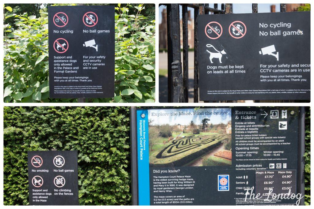 Dog rules signs at Hampton Court Palace