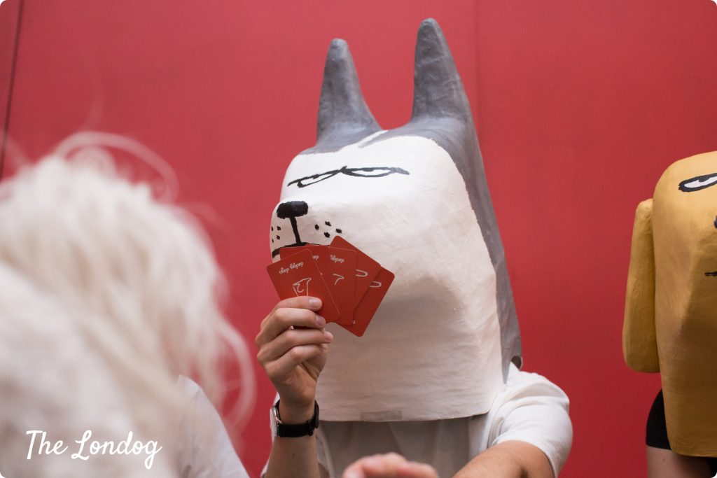 Jean Jullien dressed up as a dog at Dodgy Dogs launch