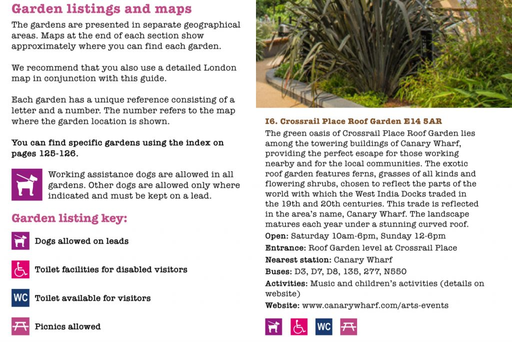 Open Garden Square Weekend guidebook on dog rules and Crossrail Place Roof Garden