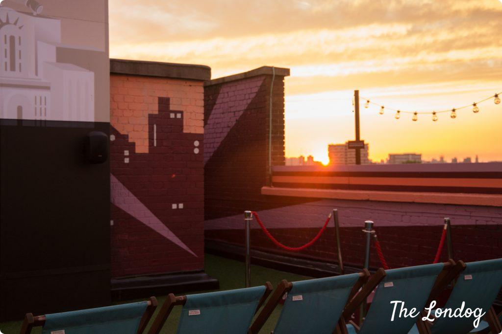 Rooftop Film Club Bussey Building sunset
