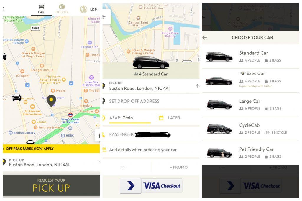 Addison Lee screenshot for dog-friendly cab