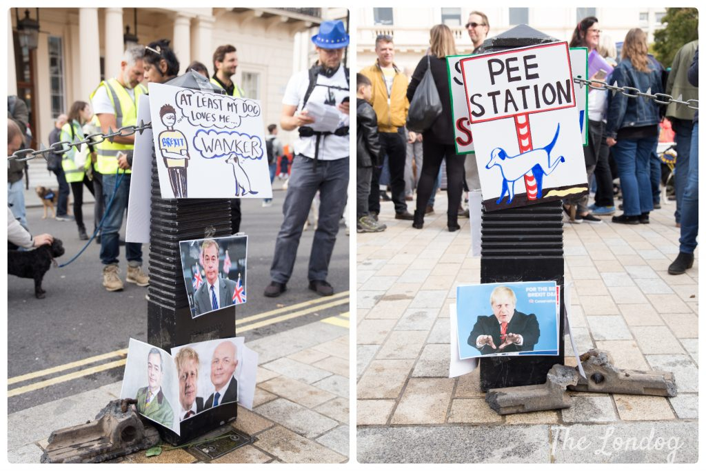 Dog pee station at the Wooferendum march