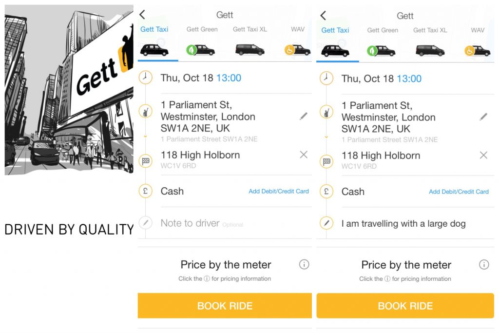 Gett taxi app screenshots for how to book with dog