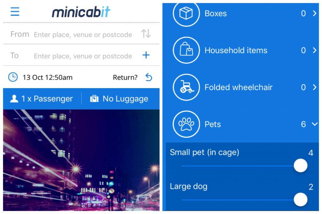 Minicabit app screenshots explaining how to book a dog-friendly ride