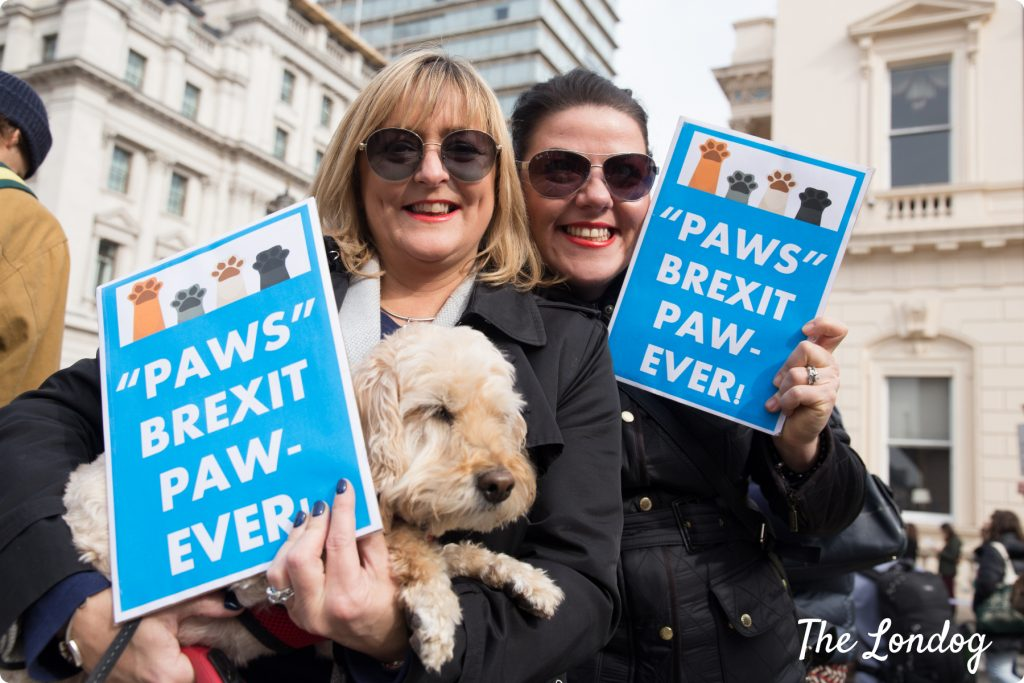 "Two women and their dog with ""Paws Brexit Paw-ever"" sign"
