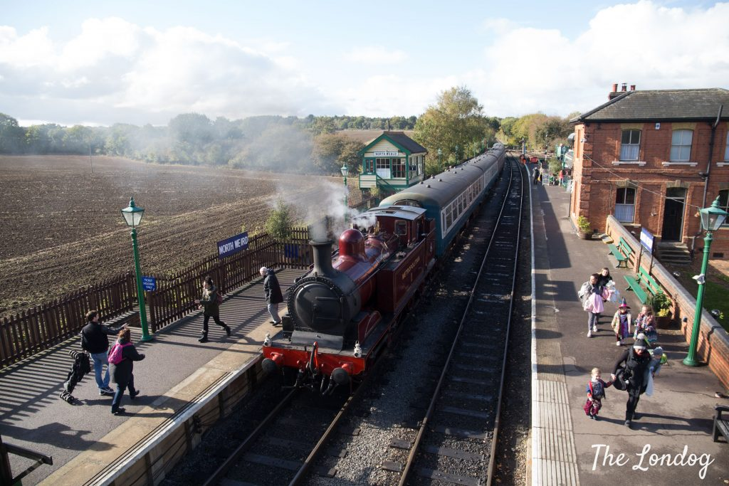 Epping Ongar Railway train on a sunny day at North Weald station