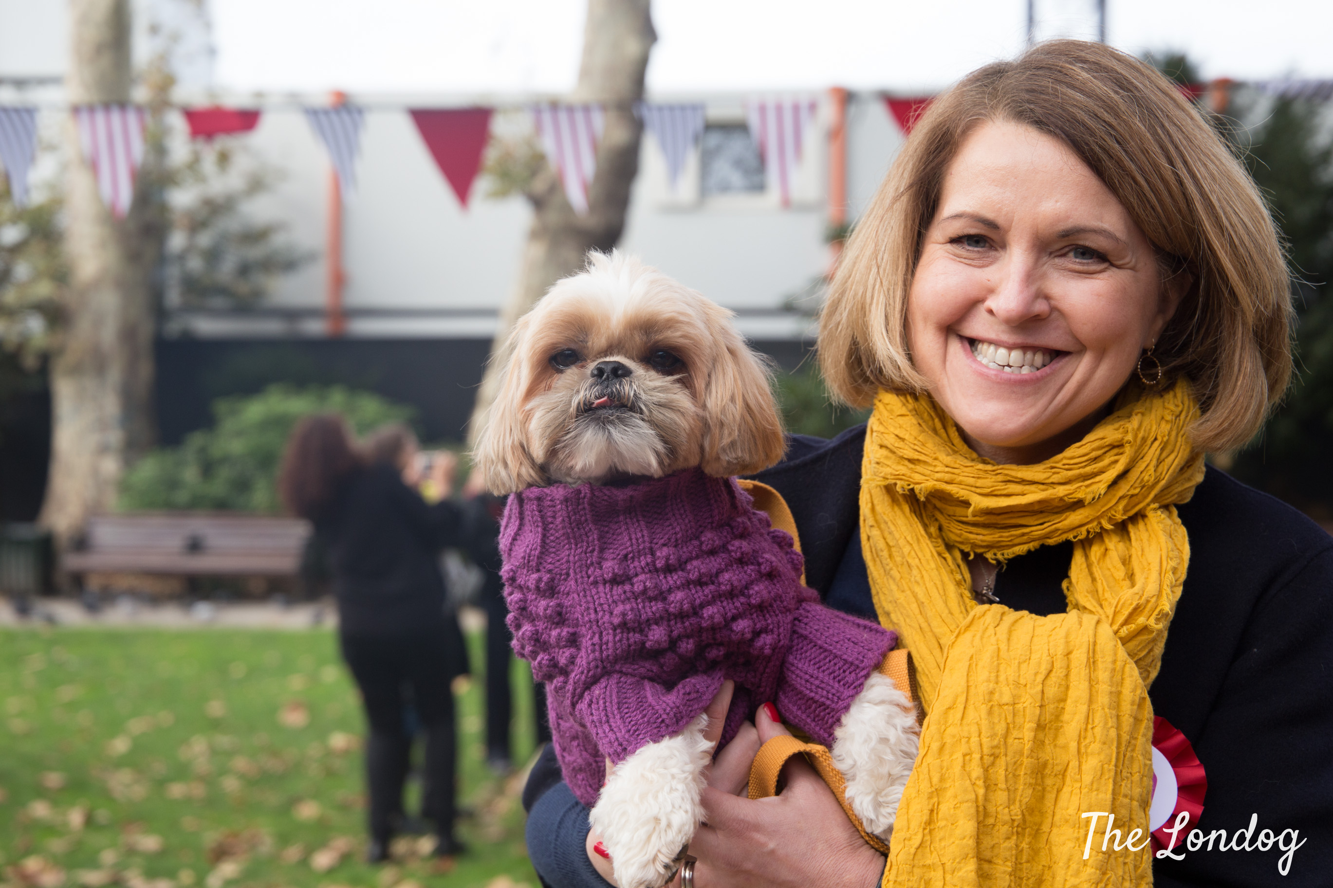 Little dog in violet jumper with his owner wearing a yellow scarfat STRUZ