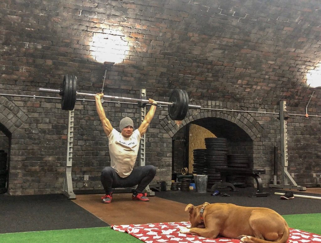 Dog watches guy lifting weights at dog-friendly gym Crossfit London