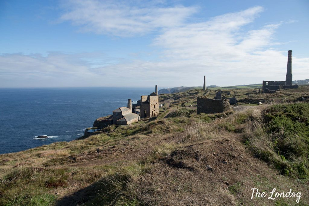 Breathtaking view from the path near Levant Mine in West Cornwall on a sunny day
