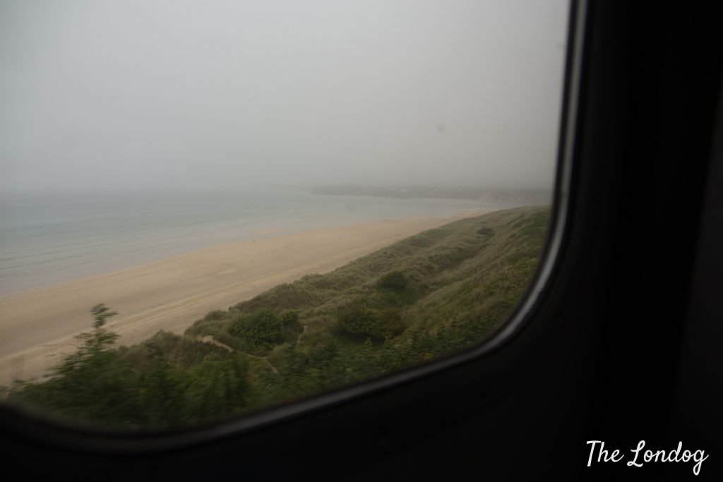 View from St Ives Bay Line train on a very foggy and damp day