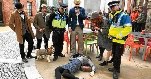 cluedupp team with dog photo for london southbank detective day
