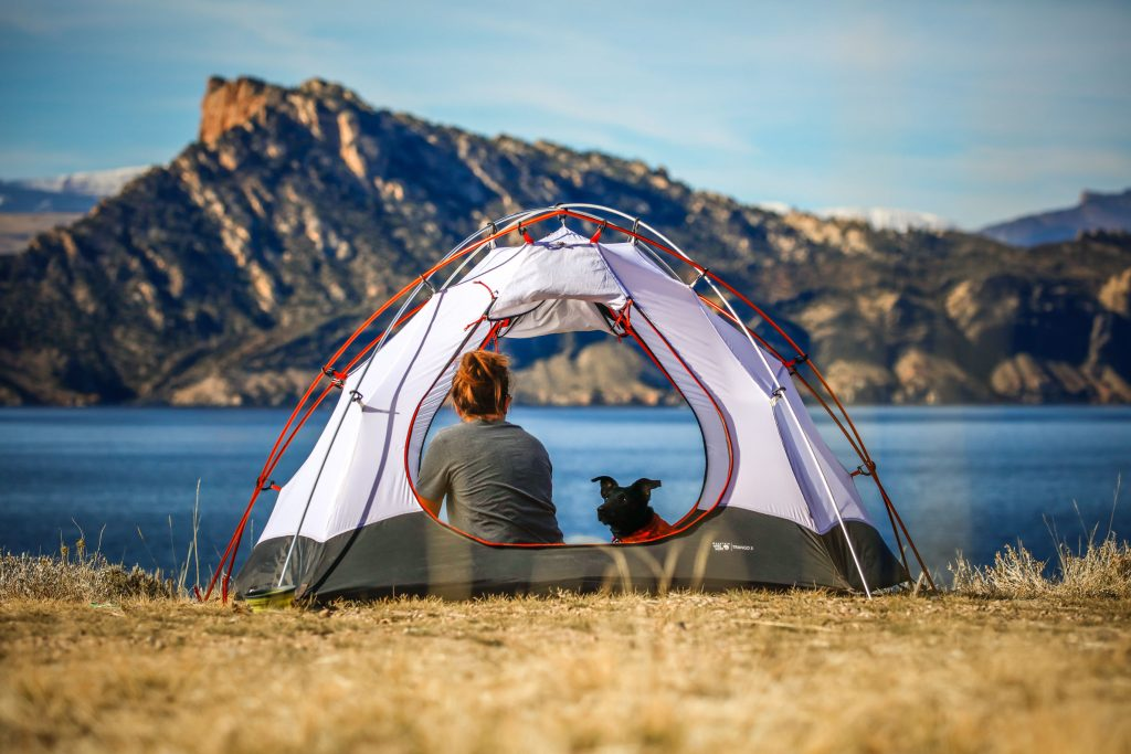 Woman and dog camping in a tent near a lake