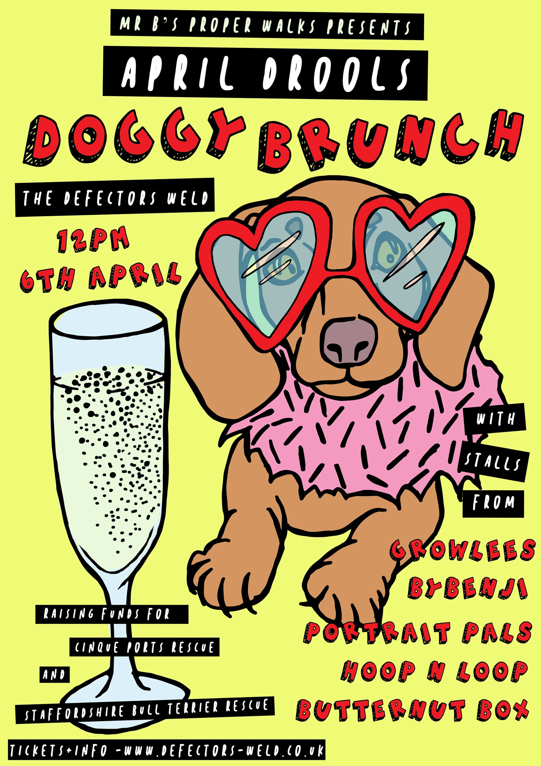 April Drools doggy brunch poster