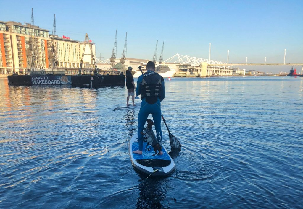 Man with dog paddle board at Royal Docks on a sunny day