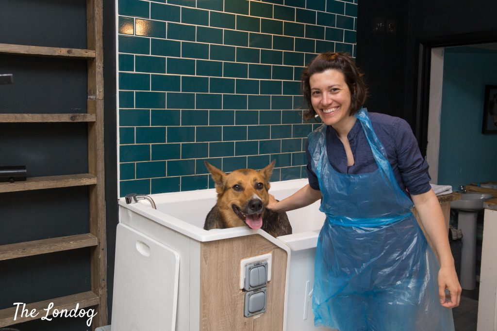 dog and owner before bath