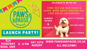 Flyer Paws and Pause launch event