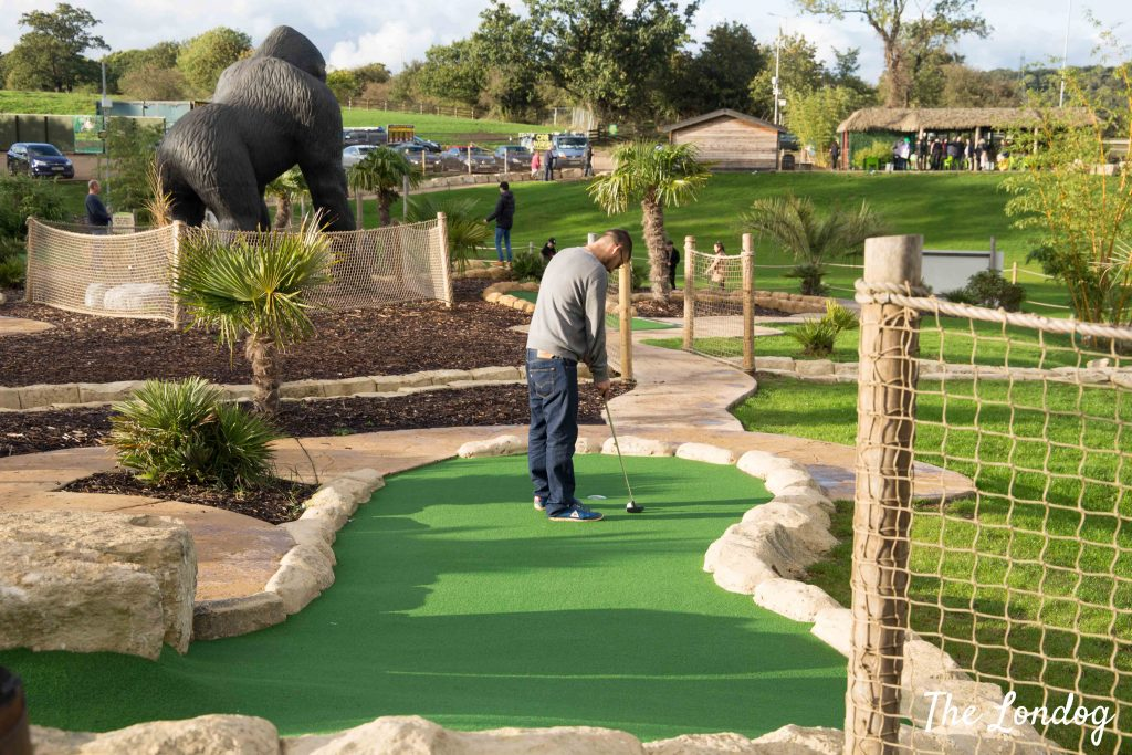 Man playing crazy golf on course