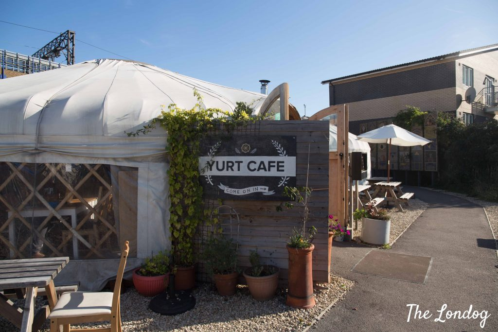 Outside view of the Yurt Cafe in Limehouse