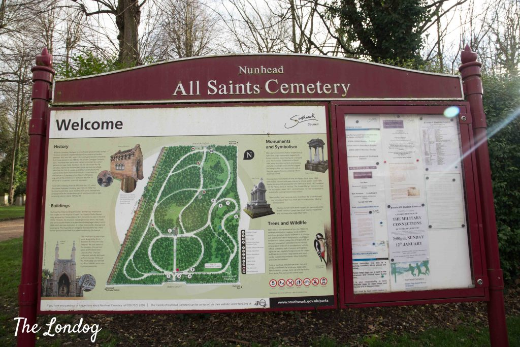 Sign with map of Nunhead Cemetery