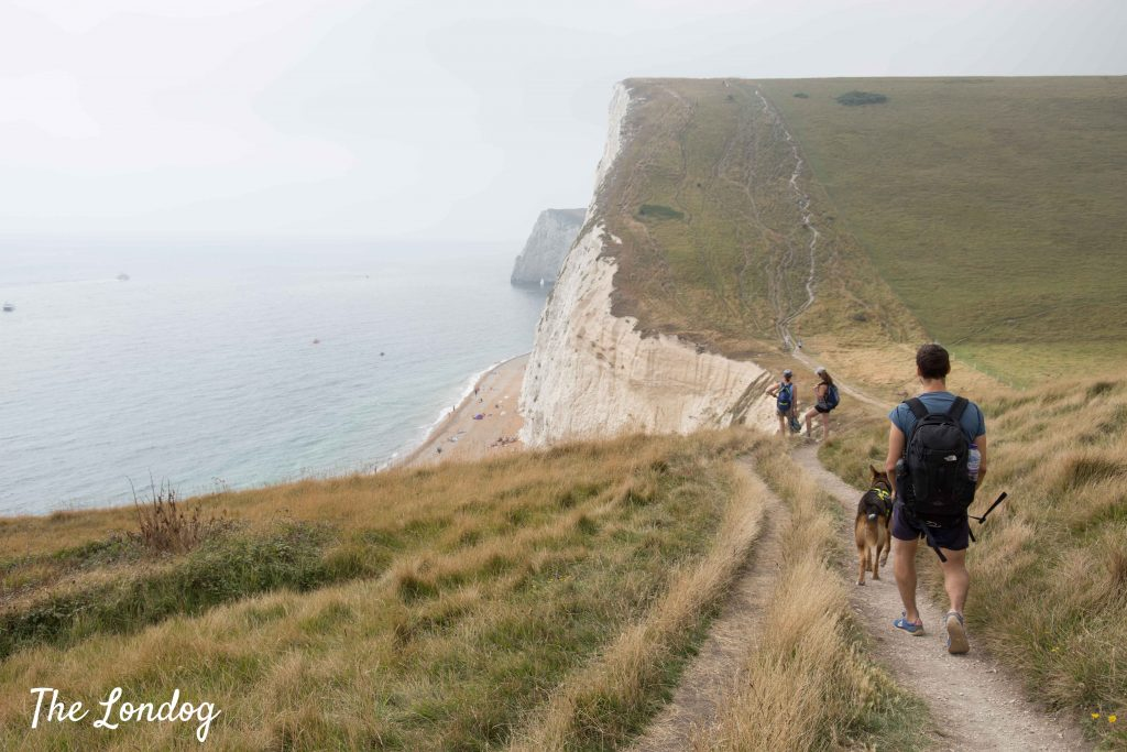 People walking on cliffs near Durdle Door