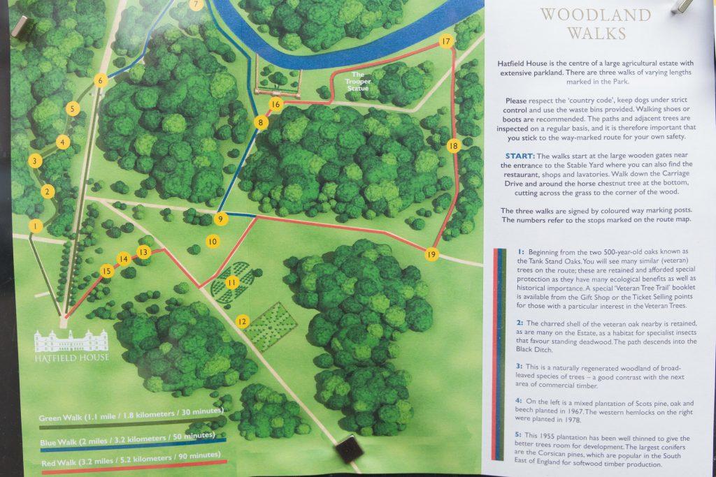 Map of Hatfield House woodland walks