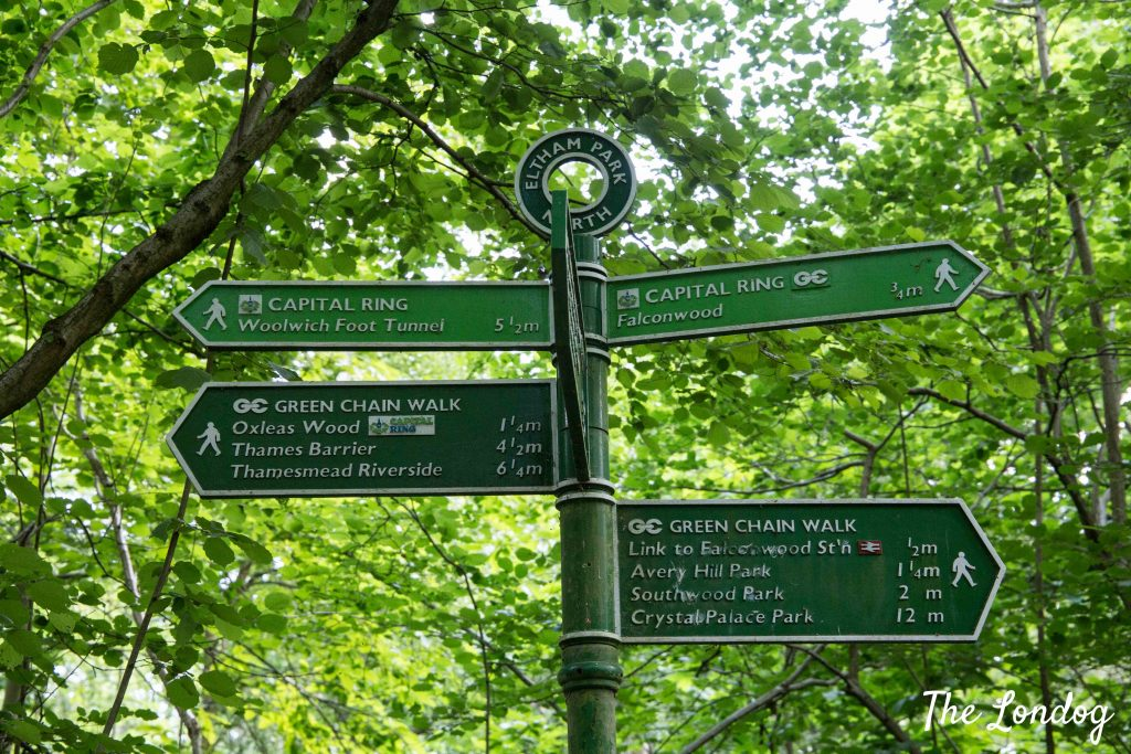 Signpost on Green Chain Walk and Capital Ring in London