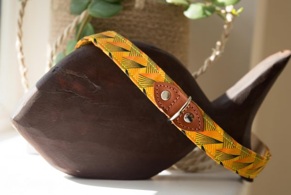 Hiro + Wolf dog collar african fabric with fireworks pattern