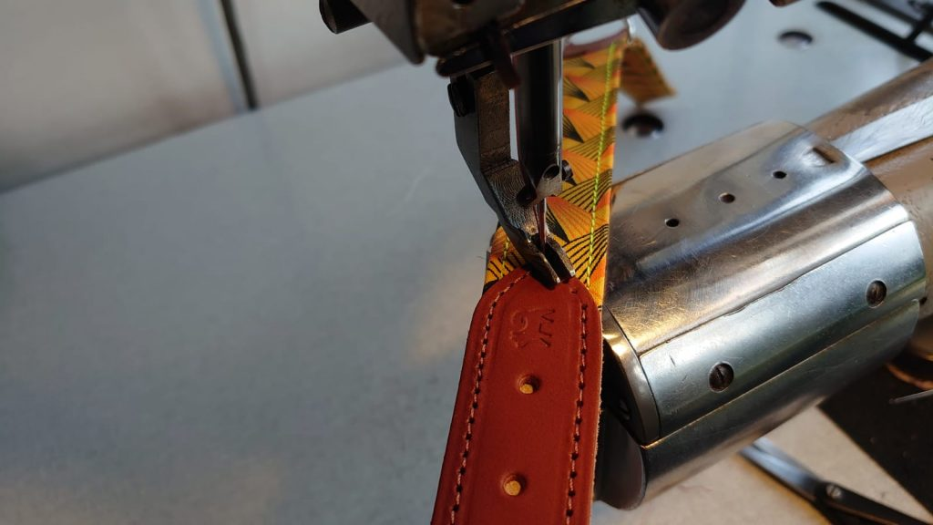 Making of dog collar sewing machine