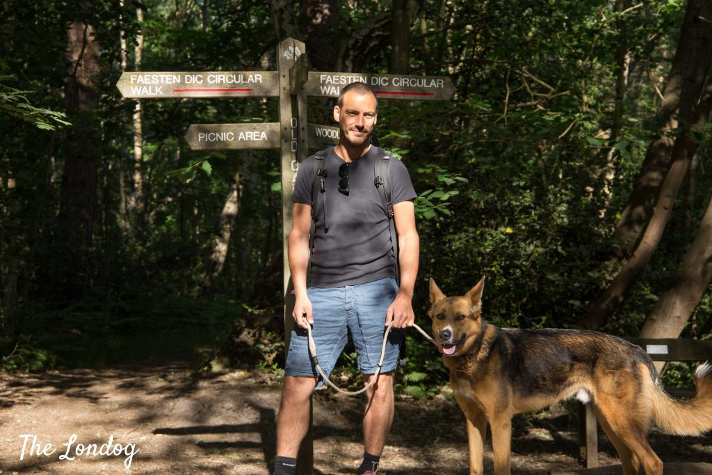 Man and dog pictured near signage at Joydens Wood