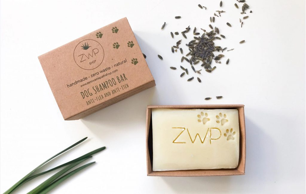 Eco-friendly sustainable handmade dog shampoo bar by ZWP