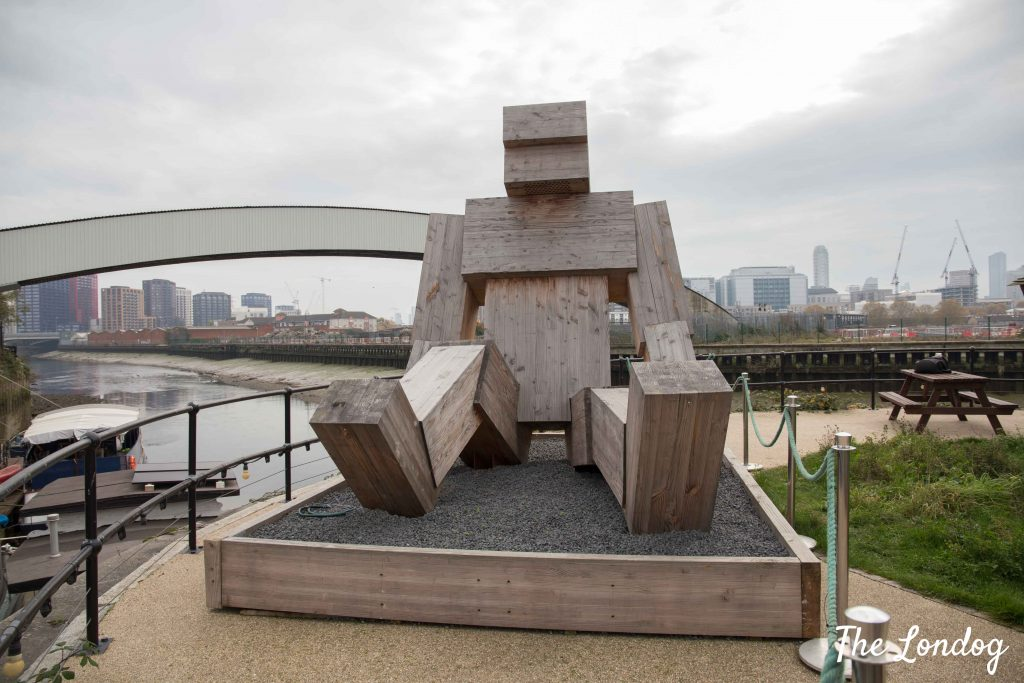 Wooden giant sculpture at Cody Dock in East London